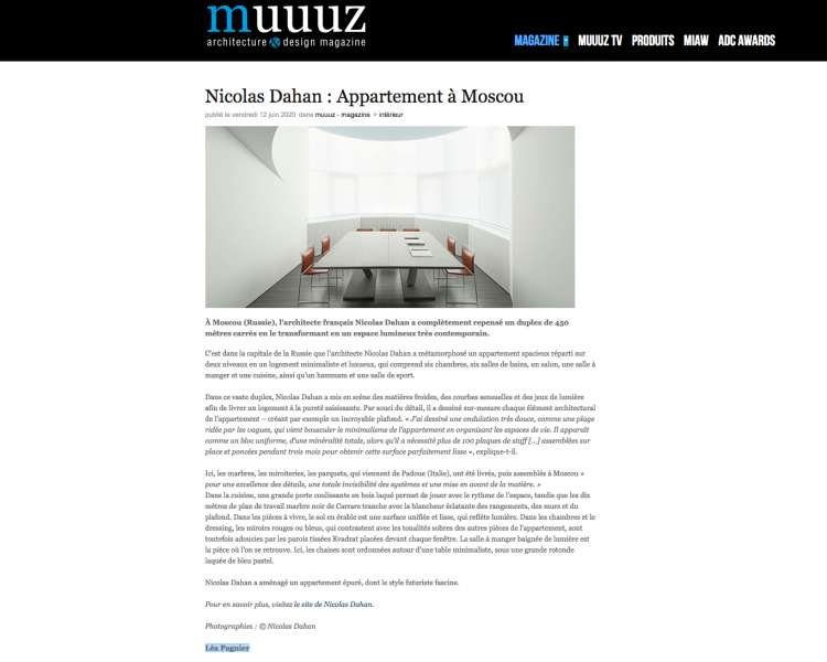 Nicolas Dahan, Press and Awards, Muuuz Architecture & Design Magazine