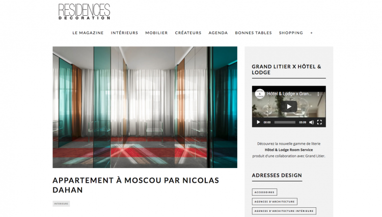 Nicolas Dahan, Press and Awards, Résidences-décoration.com