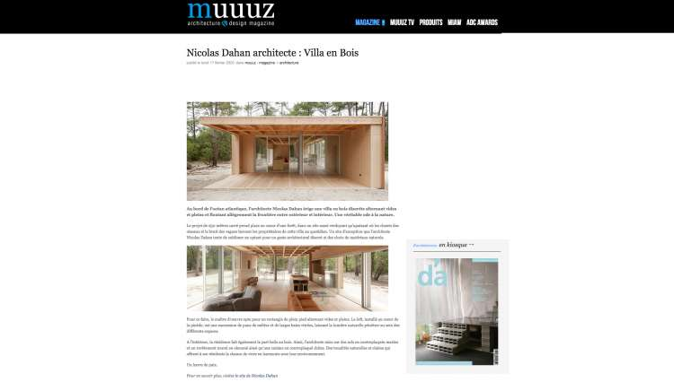 Nicolas Dahan, Press and Awards, Muuuz Architecture & Design Magazine, photographie : © Vincent Leroux