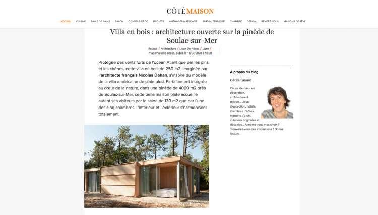 Nicolas Dahan, Press and Awards, Côté Maison