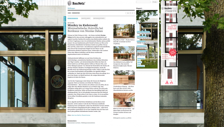 Nicolas Dahan, Press & More, BauNetz