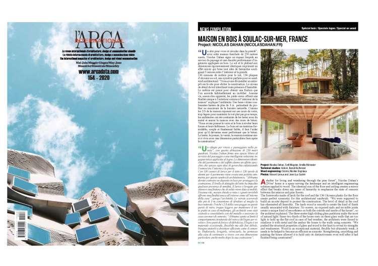 Nicolas Dahan, Press and Awards, l'ARCA INTERNATIONAL n°154-2020