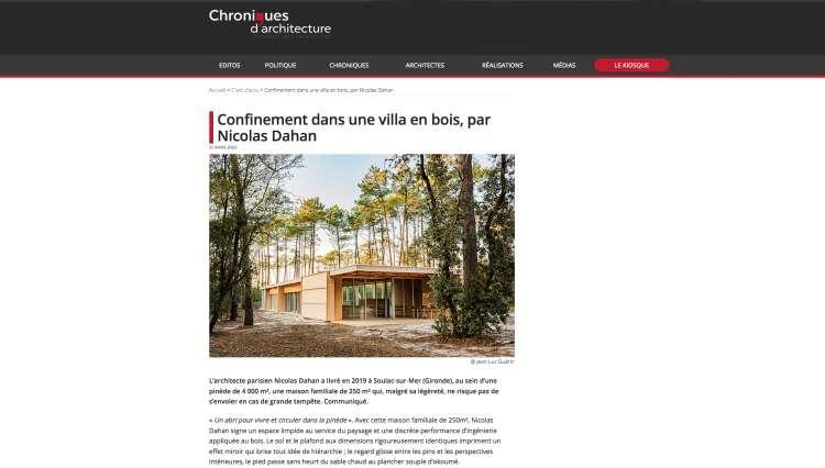 Nicolas Dahan, Press and Awards, Chroniques d'Architecture